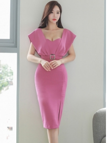 Modern Sexy Fitted Waist Low Bust Slim Tank Dress