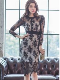 Retro Fashion Single-breasted Lace Flowers Bodycon Dress