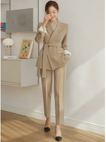 Autumn New 3 Colors Tailored Collar Tie Waist Long Suits