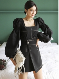 Modern Lady Square Collar Puff Sleeve Blouse with Short Pants