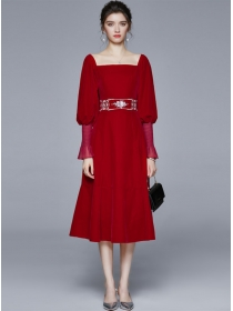 Autumn New Square Collar Embroidery Puff Sleeve Dress