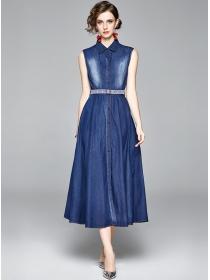 Modern New Single-breasted Shirt Collar Tank Long Dress