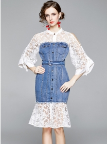 Pretty Lace Flare Sleeve Single-breasted Fishtail Dress