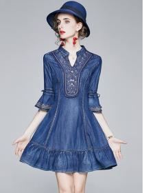 Retro Fashion Flowers Embroidery Pleated A-line Dress