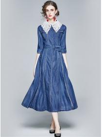 Autumn Fashion Lace Doll Collar Denim Long Dress