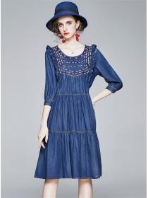 Preppy Fashion Embroidery Round Neck Loosen A-line Dress