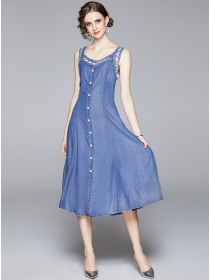Preppy Fashion Single-breasted Embroidery Tank Long Dress