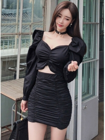 Modern Sexy V-neck Puff Sleeve Pleated Dress Set