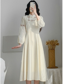 Korea Preppy Flowers Embroidery Puff Sleeve Long Dress