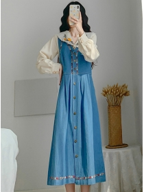 Doll Collar Embroidery Blouse Single-breasted Denim Long Dress