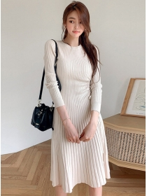 Autumn New Round Neck Draw-string Pleated Knitting Dress