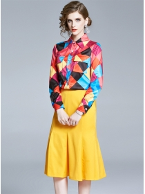 Stylish Europe Color Block Plaids Blouse with Fishtail Skirt