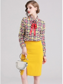 Pretty Lady Bowknot Doll Collar Houndstooth Dress Set