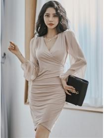Autumn Fashion V-neck Chiffon Sleeve Slim Cotton Dress