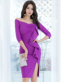 Wholesale Sexy Boat Neck Flouncing Pleated Dress