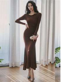Korea Stylish Round Neck Fishtail Slim Knitting Long Dress