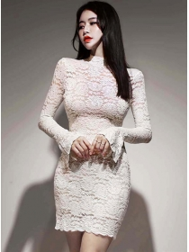Charming Grace Lace Flare Sleeve Bodycon Dress