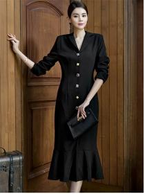 Modern OL Single-breasted V-neck Fishtail Slim Dress