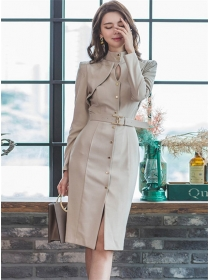 Elegant OL Single-breasted Stand Collar Long Sleeve Dress