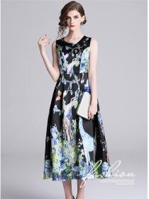 Europe Charming High Waist Printings Tank Long Dress