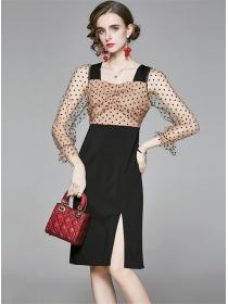 Retro Fashion Gauze Dots Sleeve Tie Waist Slim Dress
