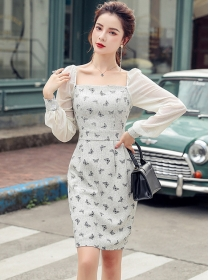 Charming OL Square Collar Butterfly Bodycon Dress