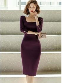 Elegant OL Square Collar Bodycon Long Sleeve Dress