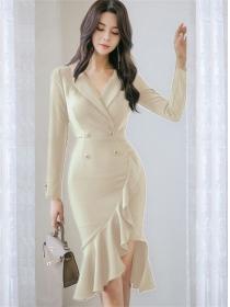 Korea Wholesale Double-breasted Fishtail Slim Dress