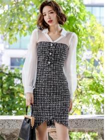 Korea Fashion Gauze Shirt Collar Splicing Tweed Dress