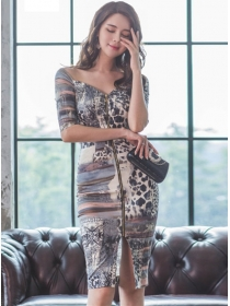 Sexy Lady Zipper V-neck Leopard Flowers Slim Dress