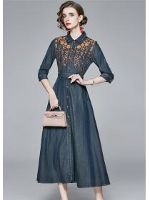 Autumn New Flowers Embroidery Denim Shirt Long Dress