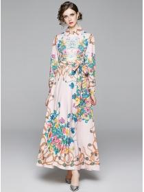 Charming Europe Tie Waist Flowers Printings Maxi Dress