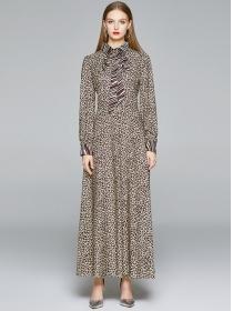 Retro Europe Tie Collar Leopard Long Sleeve Maxi Dress