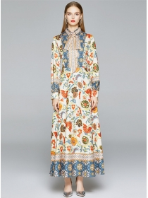 Autumn Fashion High Waist Tie Collar Flowers Maxi Dress