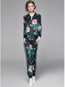 Wholesale Fashion Zipper Open Flowers Two Pieces Suits