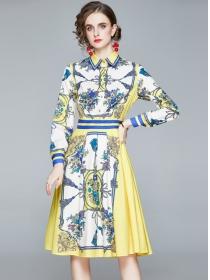 Wholesale Europe Shirt Collar Flowers A-line Dress