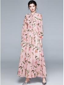 Fairy Charming Tie Collar High Waist Flowers Maxi Dress