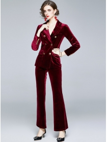 Modern Lady 2 Colors Double-breasted Slim Velvet Suits