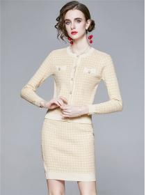 Grace 2 Colors Single-breasted Plaids Knitting Dress Set