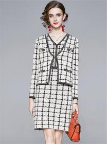 Modern OL Plaids Long Sleeve Coat with Knitting Tank Dress