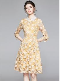 Lovely Europe Lace Doll Collar Flowers A-line Dress