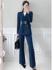 Modern OL Tailored Collar Belt Waist Slim Long Suits