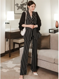 Classic Fashion Tailored Collar Stripes Two Pieces Suits