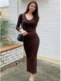 Korea Autumn V-neck Slim Long Sleeve Cotton Dress
