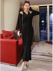 Fashion Single-breasted Off Shoulder Knitting Long Dress