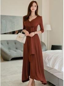 Wholesale Korea Tie Waist V-neck Knitting Long Dress