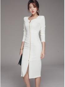 Korea Wholesale 2 Colors Zipper Open Bodycon Dress