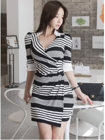 Classic Fashion Shirt Collar Stripes Bodycon Dress