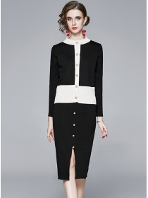 Wholesale Europe Single-breasted Slim Knitting Dress Set
