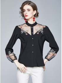 Retro Fashion Gauze Splicing Embroidery Single-breasted Blouse
